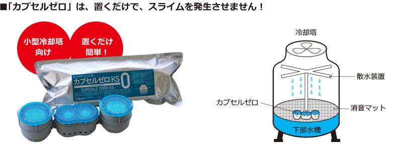 「カプセルゼロ」は置くだけでスライムを発生させない。カプセルゼロ商品写真と冷却塔に置いたイラスト