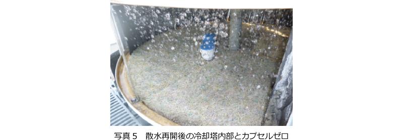 写真5 散水再開後の冷却塔内部とカプセルゼロ