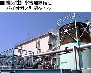 系ン規制排水処理設備とバイオガス貯留タンク
